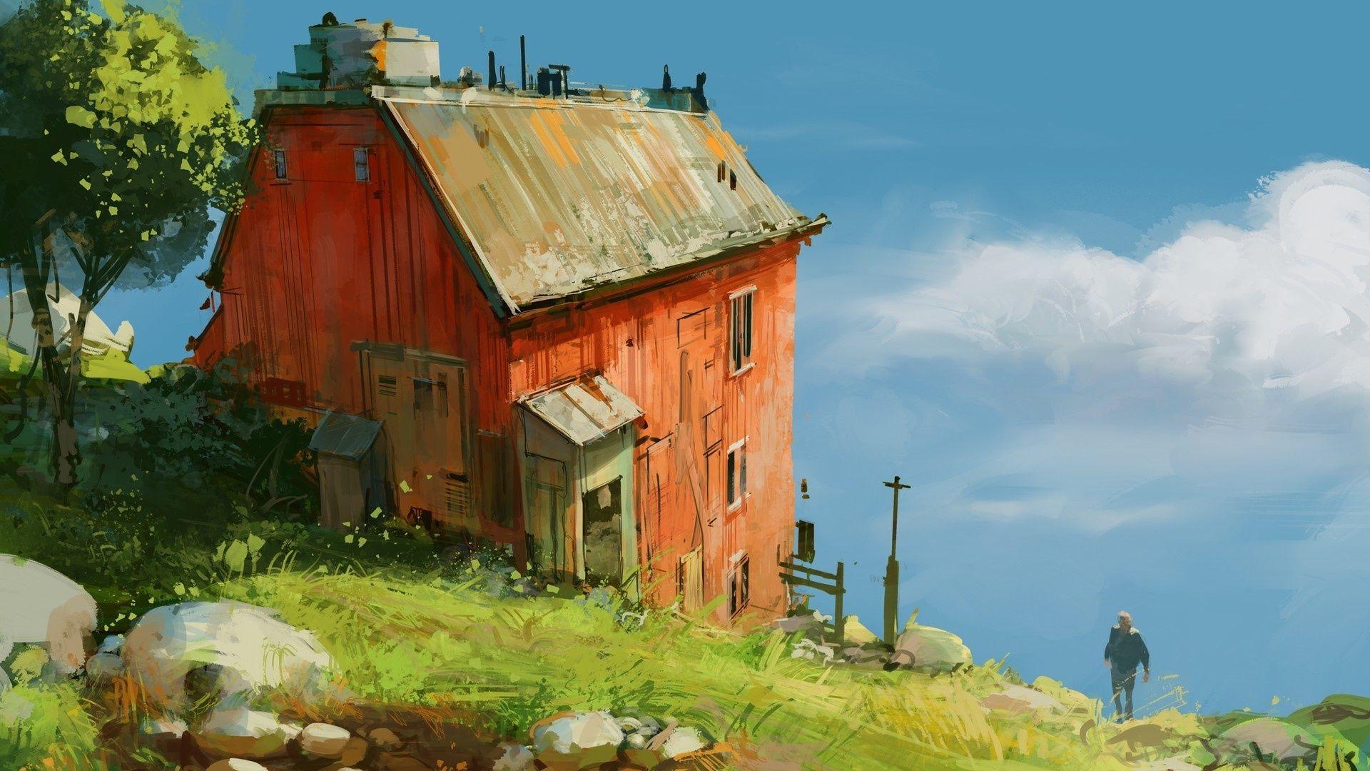 Images maisons masures for Maison bois bord de mer